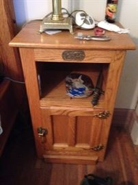 #14 White Clad oak cabinet w/door 18x13x29. $120