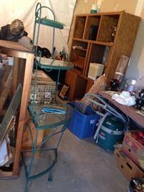#27 Green metal corner bakers rack 16x63 $75 #22 Ent. center 60x16x86. $75