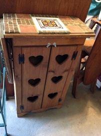 #21 oak heart door cabinet w tile top $75