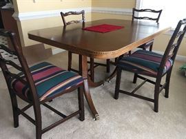 Mahogany Table with inlay double pedestal