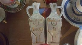 Oil and Vinegar Cruets, white block lusterware, made in Germany. early 1900s - $20