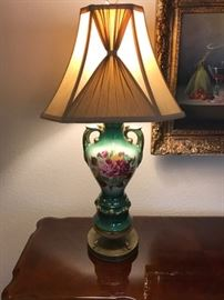Vintage Ceramic Lamp with Roses and Original Shade 165.00