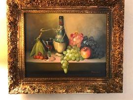 "Frank Lean Original 'Still Life With Fruit' in Ornate Gilt Frame  (Image Size - 20""x16"")  300.00"