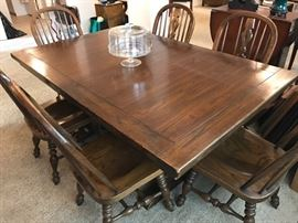 "Solid Oak Trestle Table - Elegant and Stately - with 2 Leaves (Extends to 42""x102"") 675.00"