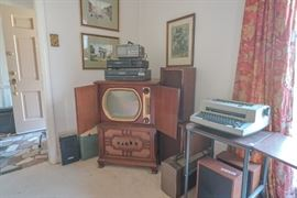 circa 1950s TV cabinet, electric typewriter and electronics