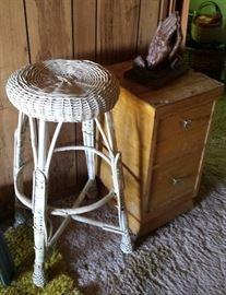 wicker stool, night stand