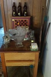 Butcher block, Cape Cod punch bowl/cups, milk bottles, Aunt Jemima bottles, wooden ironing board