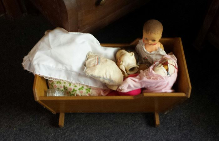 dolls, wooden doll cradle
