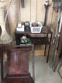 chair, desk, wicker, movie screen
