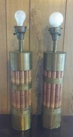 mid century lamps, wood/brass