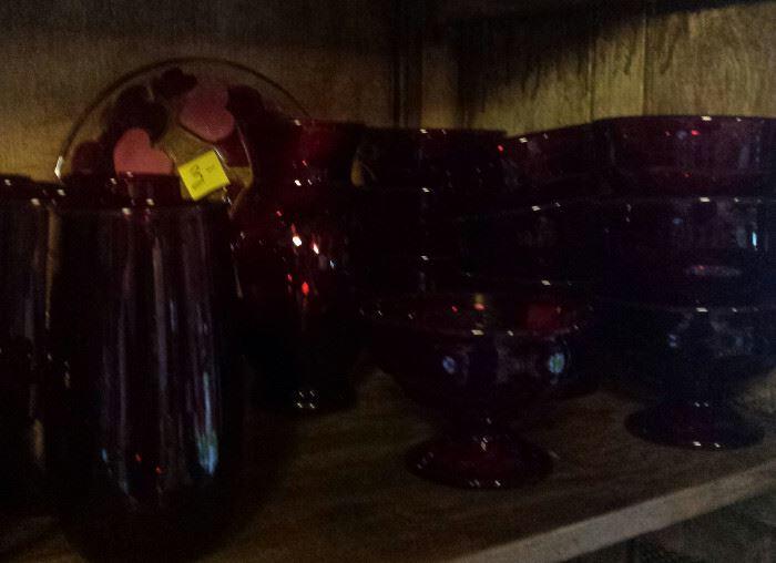 ruby red tumblers, sherbart, vase