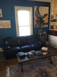 Leather sofa & slate coffee table
