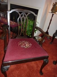 1 of 6 chairs - 2 are arm chairs. Beautiful needlepoint cushions