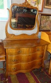 LOVELY HONEY OAK DRESSER WITH WISHBONE MIRROR, SERPENTINE FRONT, APPLIED CARVING, TIGER GRAIN