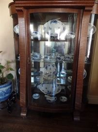 Antique china cabinet FILLED WITH W. H. Grindley ANTIQUE FLOW BLUE
