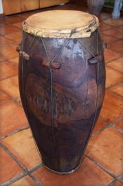 "Africa Carved  wood  drum  with  a  hide  top,  37""h  x  14"""