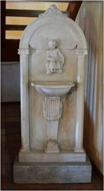 "19thc, Italy, Carved marble wall fountain with putti  riding  a  dolphin, 75""h  x  33""w  x  10""d"