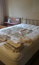 Schneiderman's Double Bed w/high-end Macy's Mattress Pad + egg carton foam pad, headboard & frame!  A few linens remain.  Bed has been dismantled for easy moving.