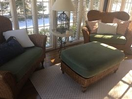 $200 each Oversized rattan sunroom chairs $125 ottoman