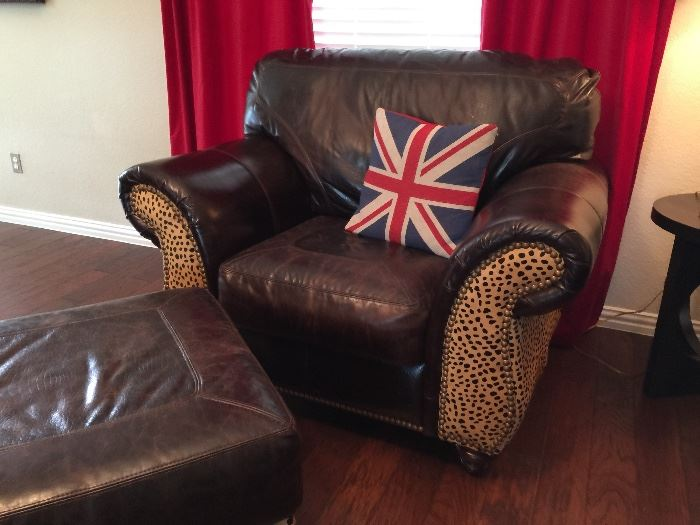 Leather Chair and Ottoman with Printed Cheetah Hide and Nailhead Detail.