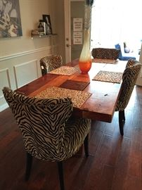 """Montana"" Block Base Wood Dining Table 82"" with Zebra Print Chairs Sold Separately."