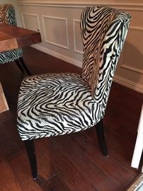 """""""Montana"""" Block Base Wood Dining Table 82"""" with Zebra Print Chairs Sold Separately."""