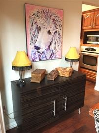 """26"""" Pair of Leg Lamps from A Christmas Story Movie, Poodle Print & Contemporary Cabinet."""