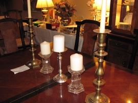 Brass and Waterford   candle holderas