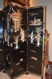 Asian-Oriental Room-Wall Divider with inlaid Mother of Pearl