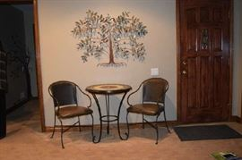 Patio Table and Chair, Metal Wall Tree Art