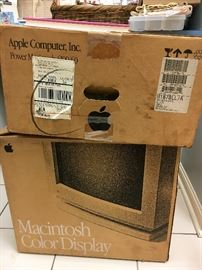 An Apple Macintosh 6100/60 and a Macintosh Color Display (box dated 1993) that's never been out of the boxes!!!
