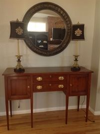 Sideboard by Stratton. Large decorative mirror and lamps