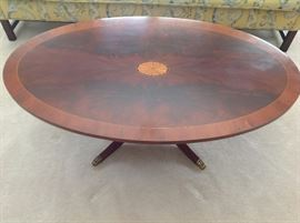 Oval inlaid coffee table