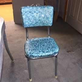 Blue vinyl chairs and gray Formica retro table!