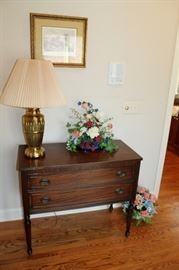 Vintage 2 drawer chest, brass lamp, floral arrangements