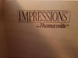 5 piece oak Thomasville Impressions bedroom set - brand stamp in dresser