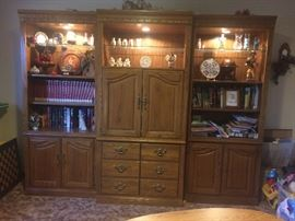 3-piece oak cabinet bookshelf set with lights