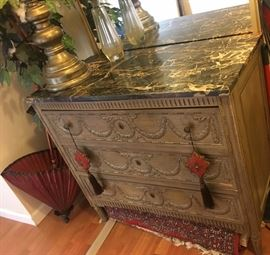 French Chest of Drawers with Marble Top