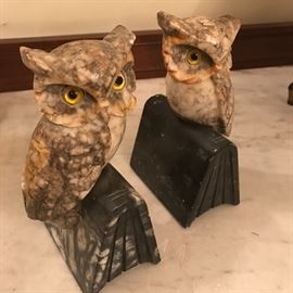 Antique carved marble owl bookends