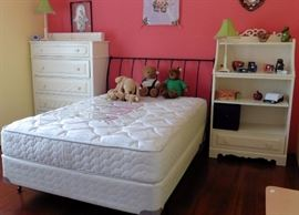 Charles P. Rogers Paris iron sleigh bed; Sealy mattress and boxspring. Stanley chest of drawers and bookcase.