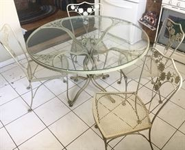 Wrought iron & glass table for 4