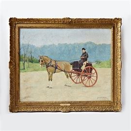 """Gustave Mosler Oil on Canvas Titled """"Horse, Buggy & Master 1887"""": An original Gustave Henry Mosler (American, 1875-1906) oil on canvas titled Horse, Buggy and Master 1887. The antique work, painted in 1897, is painted in a realistic manner with expressive use of the brush, and in a muted color palette. The piece shows a formally dressed man in long black coat and bowler hat, holding a reins and a halter whip in his hands, seated upon a black buggy with orange red wheels, and with a light brown horse in the traces. The man, buggy and horse are positioned in the center of a wide flat dirt road, with green meadows to each side and low blue hills to the distant horizon. The painting is signed by the artist and dated to the lower right corner and displayed in an ornate gilded gesso frame with brass titled plaque to the lower frame. The painting was purchased from Closson's and retains the original sticker to the back.  Gustave Henry Mosler, born in Germany and raised in the United States, w"""