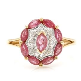 14K Yellow Gold Ruby and Diamond Ring: A 14K yellow gold ruby and diamond ring.