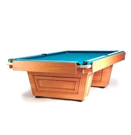 Frank Lloyd Wright Style Billiards Table: A contemporary Frank Lloyd Wright style 9-foot billiards table. The table features a pair of plank legs and a teal felt top. The table comes disassembled, the main image was taken in situ prior to being disassembled. The second picture was taken right at the start of disassembly and shows the corner pockets removed.