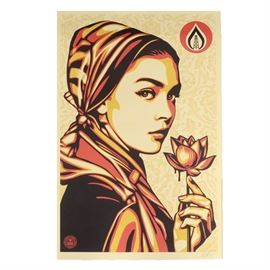 "Shepard Fairey Signed Giclée ""Natural Springs"": A signed open edition giclée on cream speckled paper by well-listed and world-renowned American street artist, Shepard Fairey (California/South Carolina; born 1970), titled Natural Springs. The image depicts a stunning portrait of a working-class woman wearing a head scarf, staring impassively directly at the viewer as she holds a lotus flower dripping in thick dark liquid, reminiscent of blood. To the upper right, an oil rig resides within a circular flame logo, and to the lower left is the OBEY star logo. Artist signature is signed and dated 2017 in pencil to the lower right. Poster is unframed, awaiting your choice of presentation."