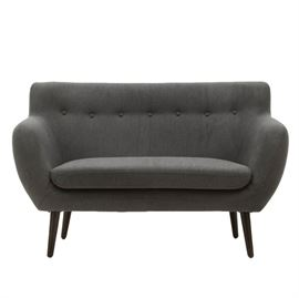 "Artemano ""Star"" Two-Seat Loveseat: An Artemano ""Star"" two seat loveseat, no. ch5588553, upholstered in grey flannel, on dark wooden legs."
