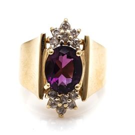 14K Yellow Gold Amethyst and Diamond Ring: A 14K yellow gold amethyst and diamond ring.