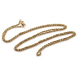 14K Yellow Gold Rope Necklace: A 14K yellow gold rope necklace.
