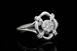 0.25 CTW Diamond and 18K White Gold Ring: A 0.25 ctw diamond and 18K white gold ring. The ring features a design embellished with fifteen single cut diamonds.