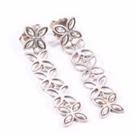 John Hardy Sterling Dangle Silver Earrings: A pair of sterling silver dangle earrings by John Hardy.